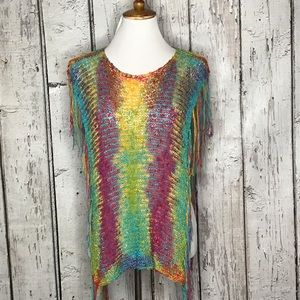 Rainbow crocheted poncho